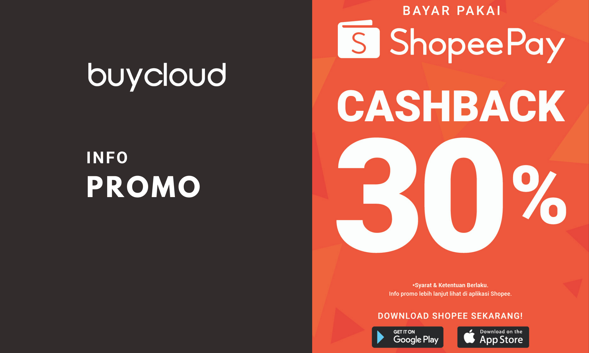 Promo BuyCloud Cachback 30% Pakai ShopeePay